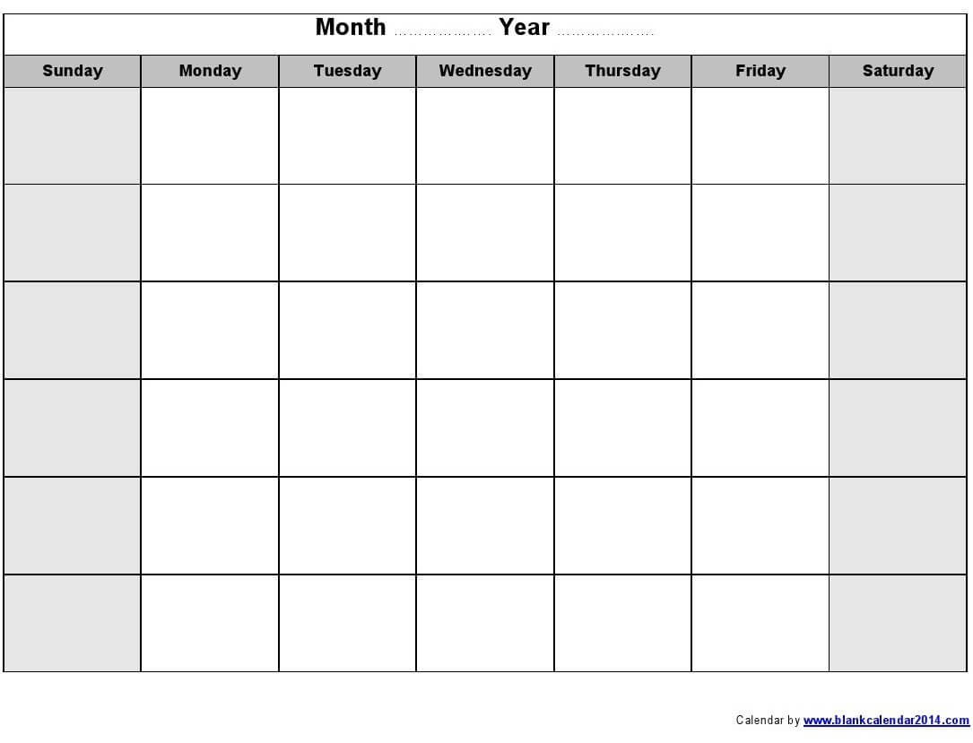 Print Blank Calendar Template Weekly Calendar Template inside Blank Activity Calendar Template
