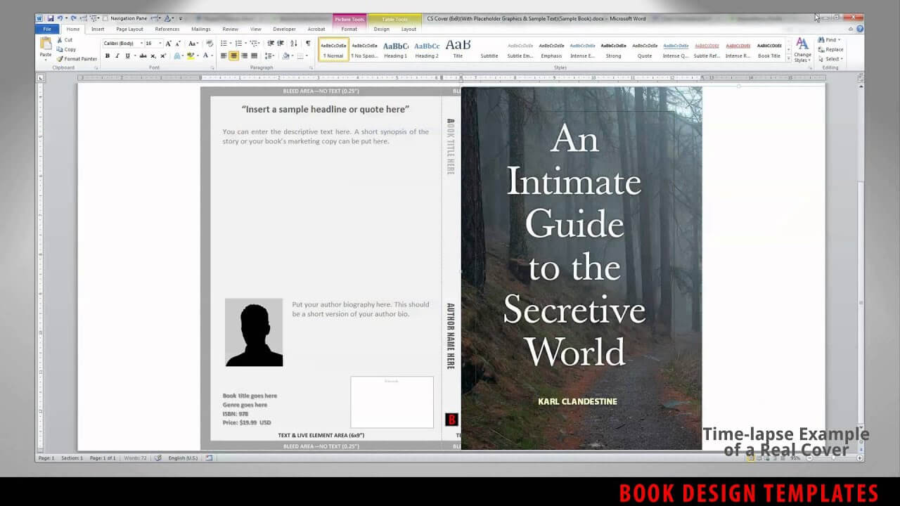 Print Book Cover Template For Word - Preview for 6X9 Book Template For Word