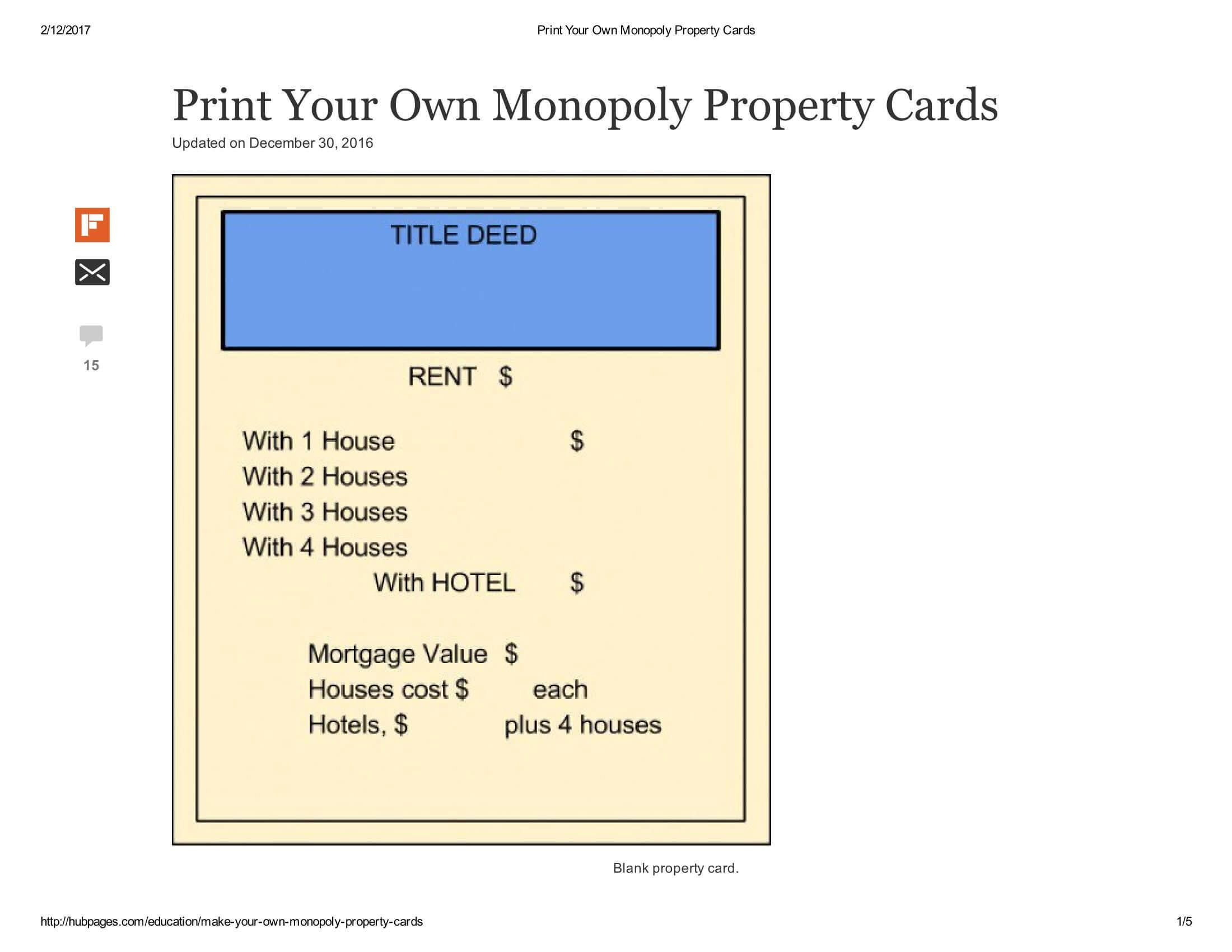 Print Your Own Monopoly Property Cards Document Pages 1 – 5 Within Monopoly Property Card Template