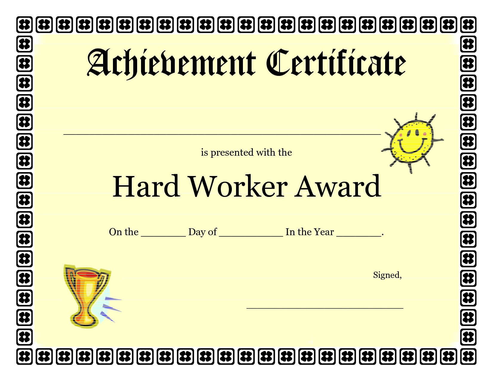 Printable Achievement Certificates Kids   Hard Worker regarding Certificate Template For Pages
