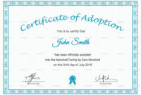 Printable Adoption Certificate Template in Child Adoption Certificate Template