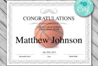 Printable Basketball Certificate Template – Editable Certificate Template –  Basketball Certificate Template Personalized Diploma Certificate regarding Basketball Certificate Template