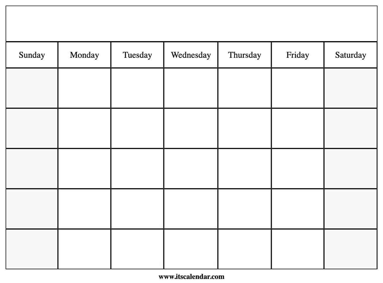 Printable Blank Calendar intended for Blank Calander Template