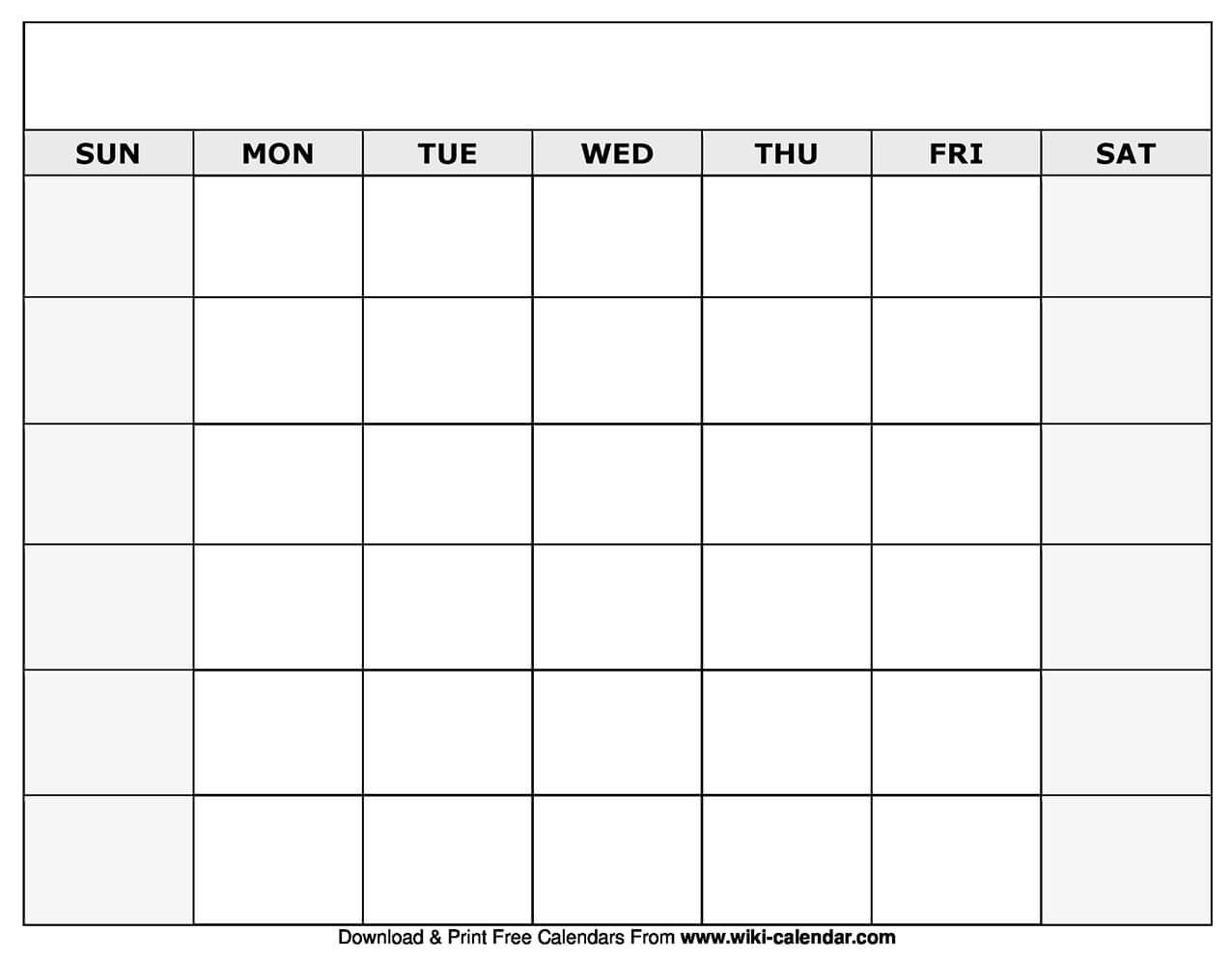 Printable Blank Calendar Templates Blank Monthly Calendar with Blank Calander Template