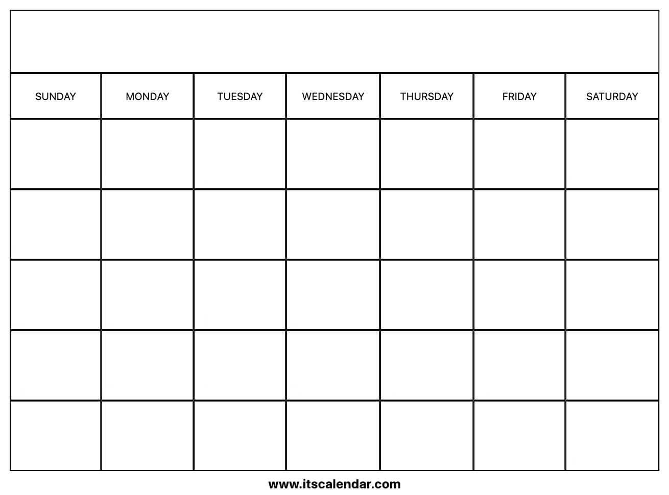 Printable Blank Calendar Within Blank Calender Template