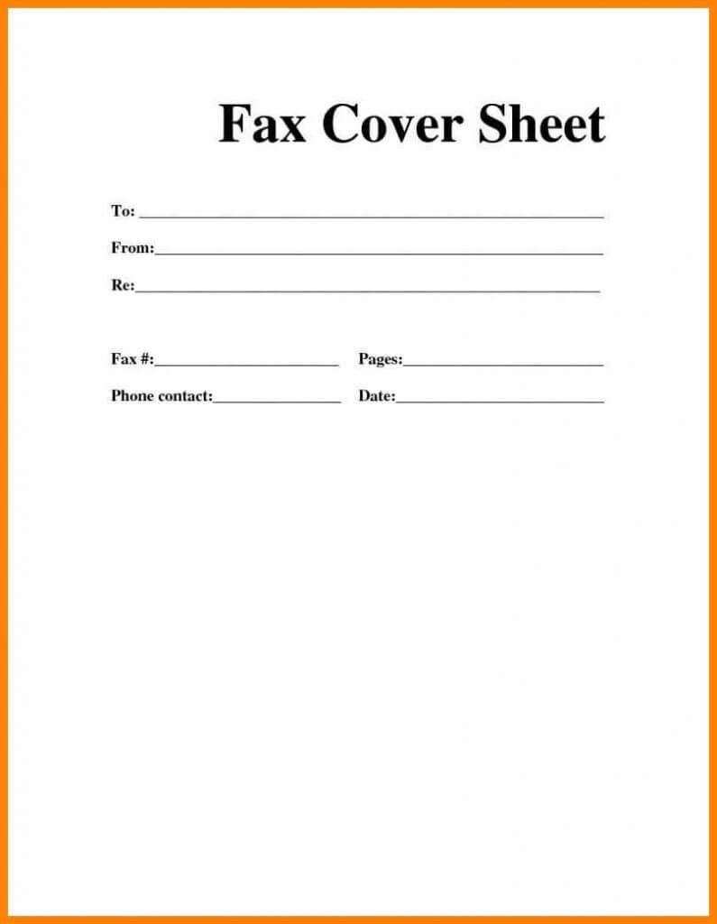Printable Blank Microsoft Word Fax Cover Sheet | Fax Cover Intended For Fax Cover Sheet Template Word 2010