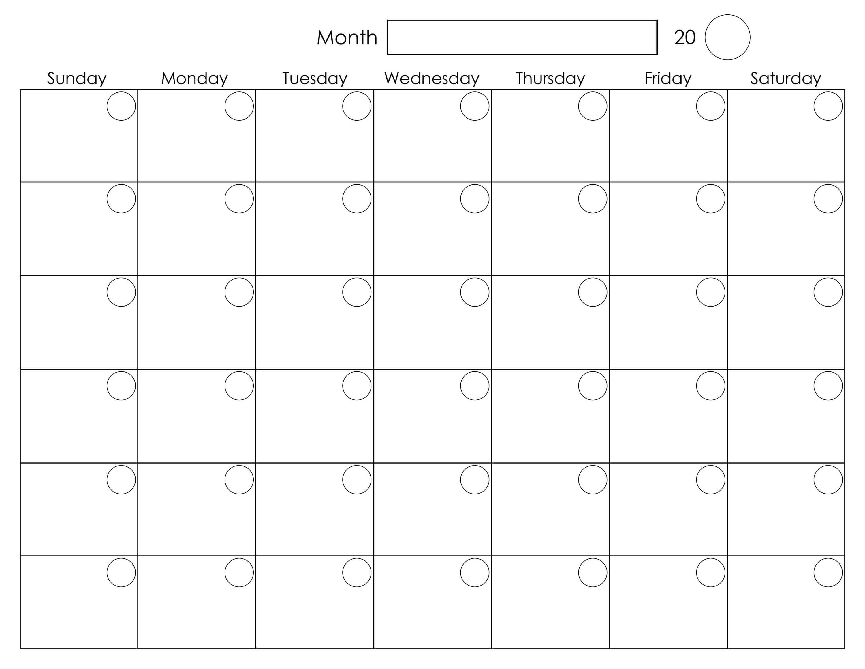 Printable Blank Monthly Calendar | Blank Monthly Calendar inside Blank Activity Calendar Template