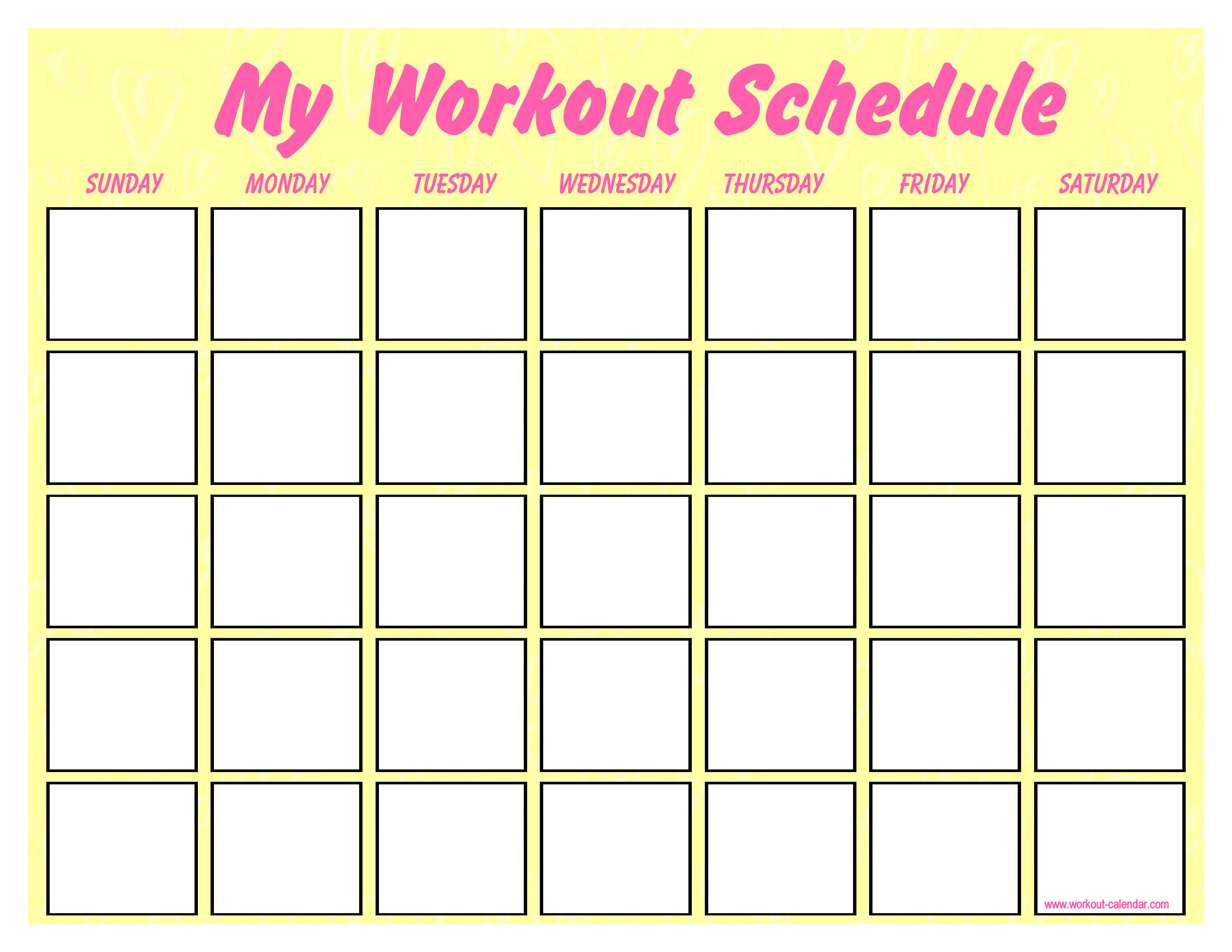 Printable Blank Workout Schedule | Templates At in Blank Workout Schedule Template
