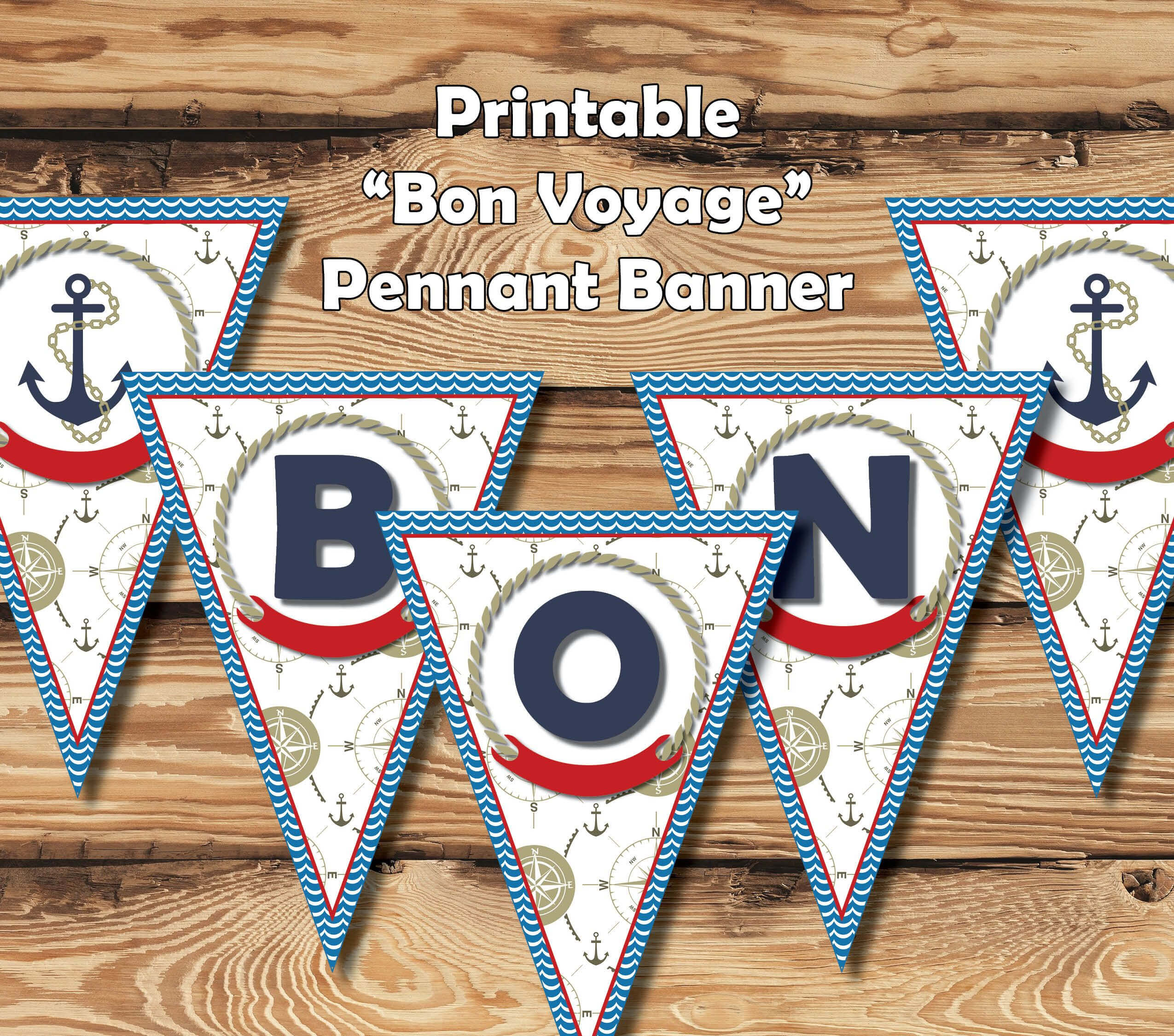 """Printable """"bon Voyage"""" Banner 