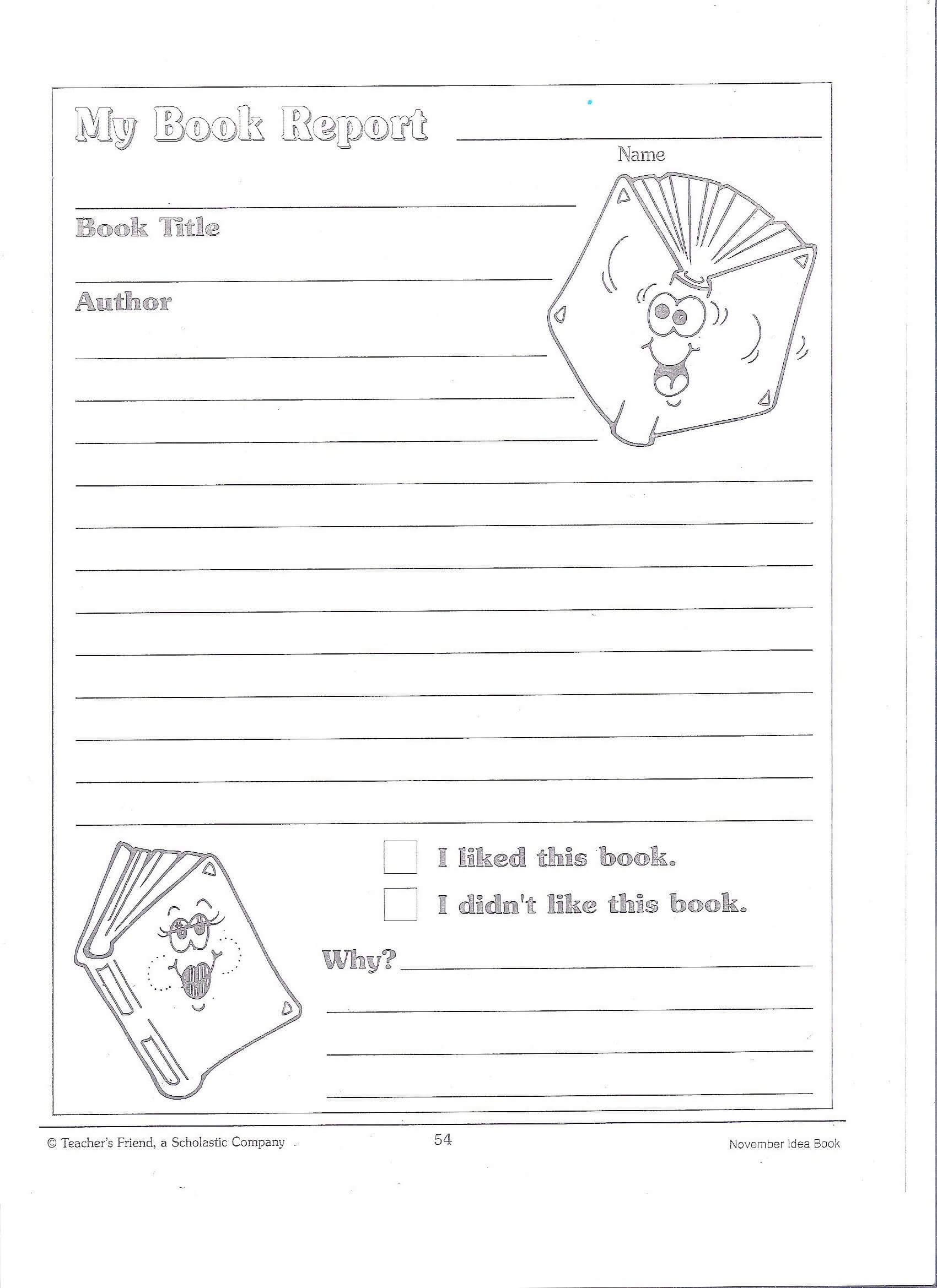 Printable Book Report Forms | Miss Murphy's 1St And 2Nd regarding First Grade Book Report Template
