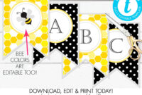 Printable Bumble Bee Banner, Bee-Day, Baby Shower, Birthday intended for Bride To Be Banner Template