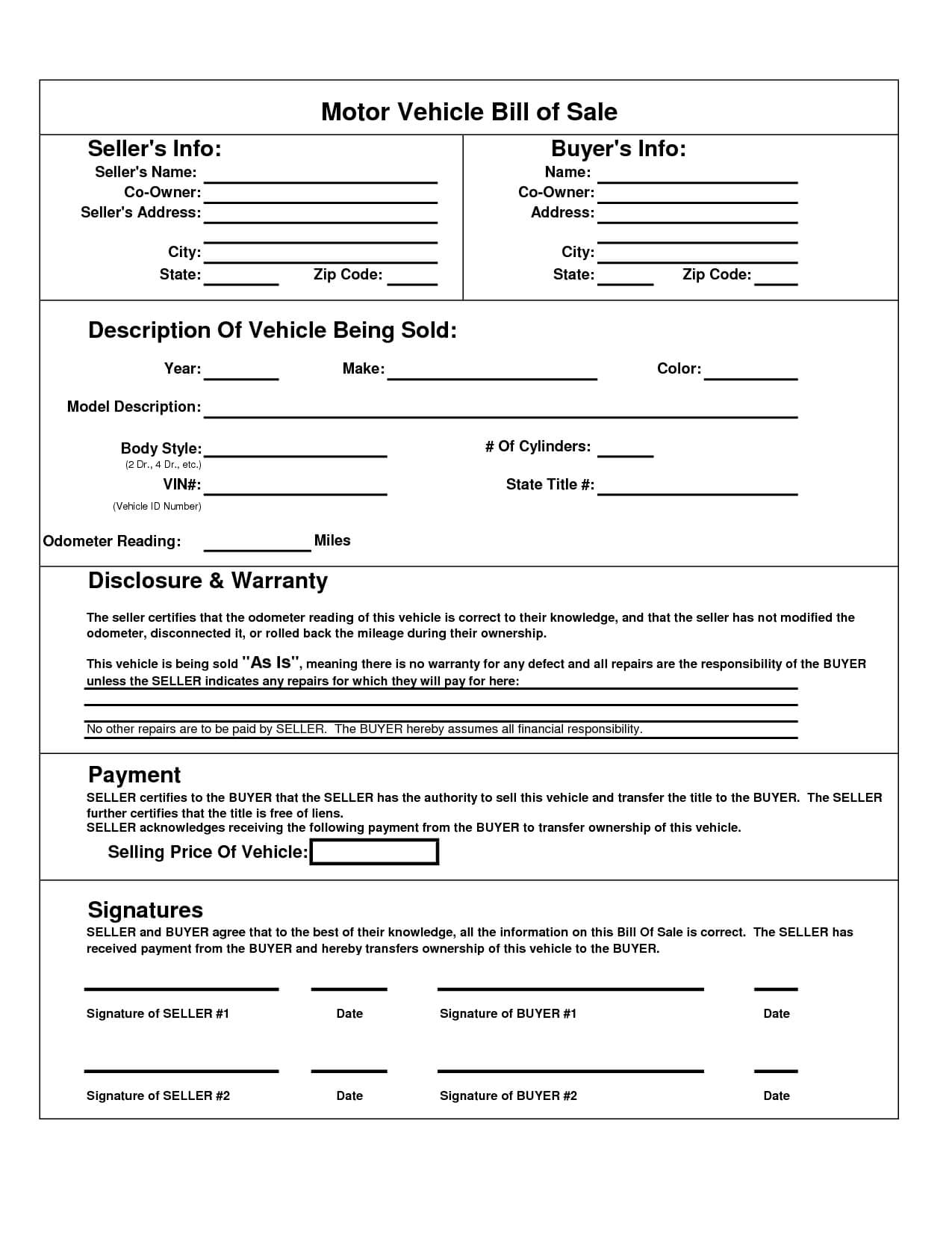 Printable Car Bill Of Sale Pdf   Bill Of Sale For Motor In Car Bill Of Sale Word Template