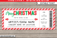 Printable Christmas Gift Concert Ticket Template | Gift Inside Movie Gift Certificate Template