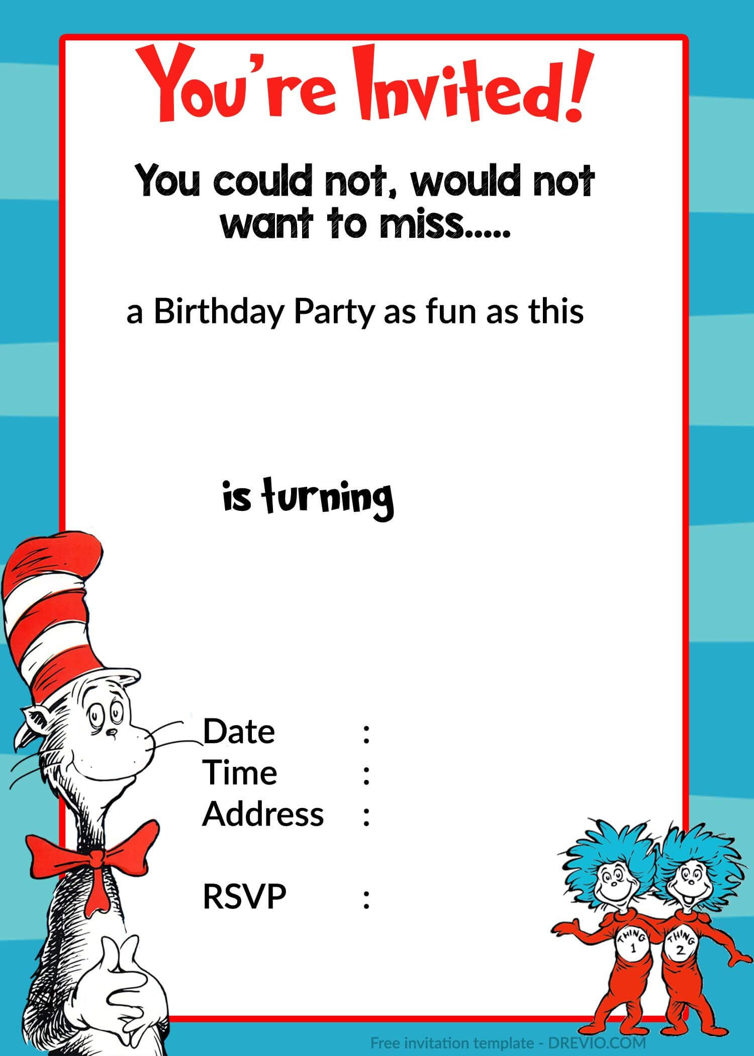 Printable Dr. Seuss Birthday   Birthday Invitation For For Dr Seuss Birthday Card Template