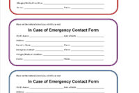 Printable Emergency Contact Form For Car Seat | Emergency intended for In Case Of Emergency Card Template