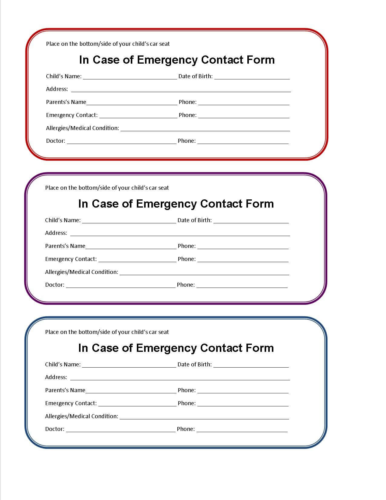 Printable Emergency Contact Form For Car Seat | Super Mom I Throughout Emergency Contact Card Template