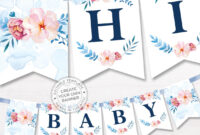 Printable Floral Banner Template, Couples Baby Shower, Bridal, Editable  Alphabet Banner, Navy Blue Pink Party Name Garland, Digital Pdf with Bride To Be Banner Template