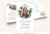 Printable Funeral Program Template | Greenery Memorial within Memorial Brochure Template