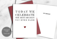 Printable Funny Anniversary Card For Him Instant Download with regard to Decision Card Template