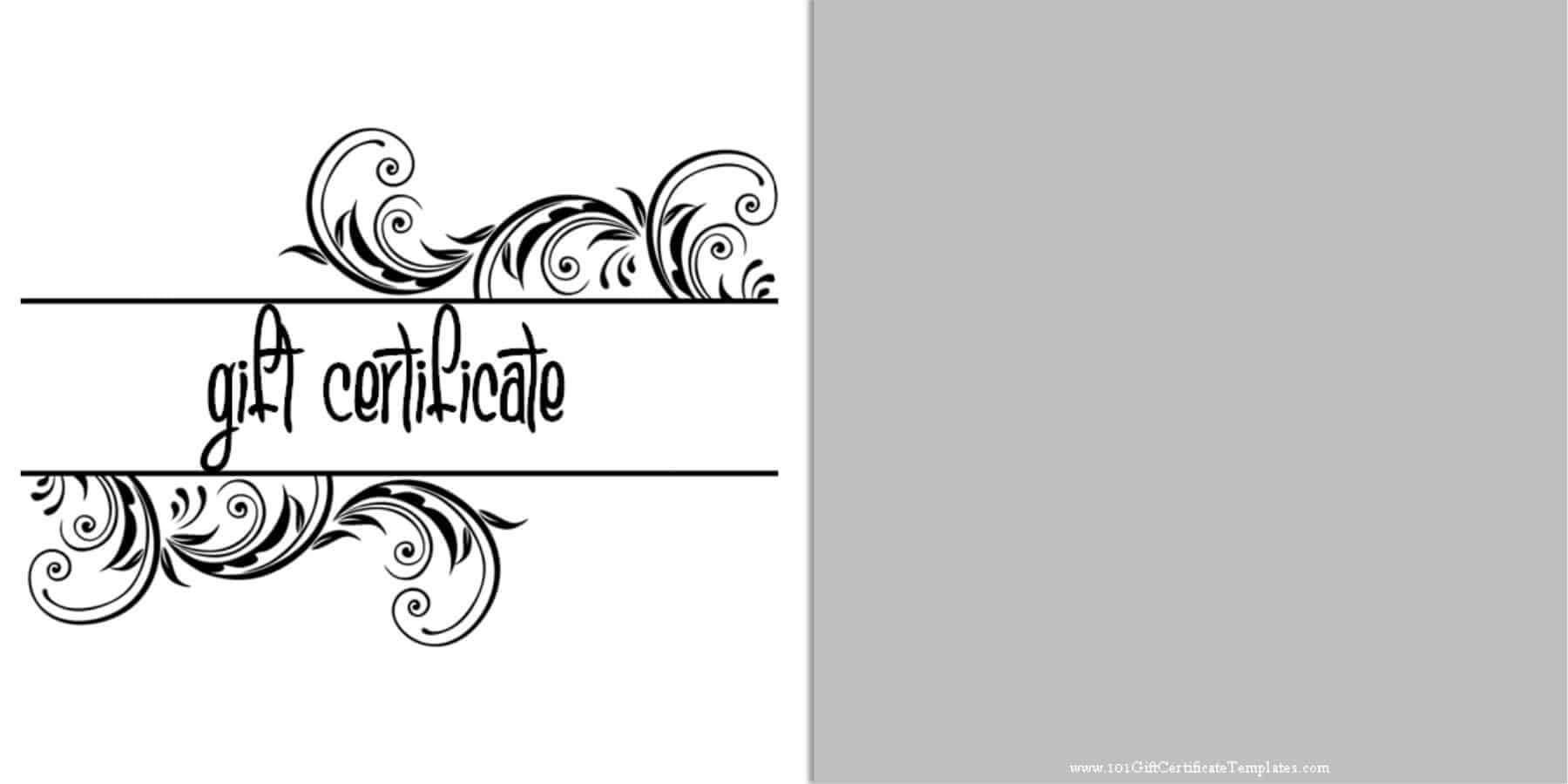 Printable Gift Certificate Templates Inside Black And White Gift Certificate Template Free