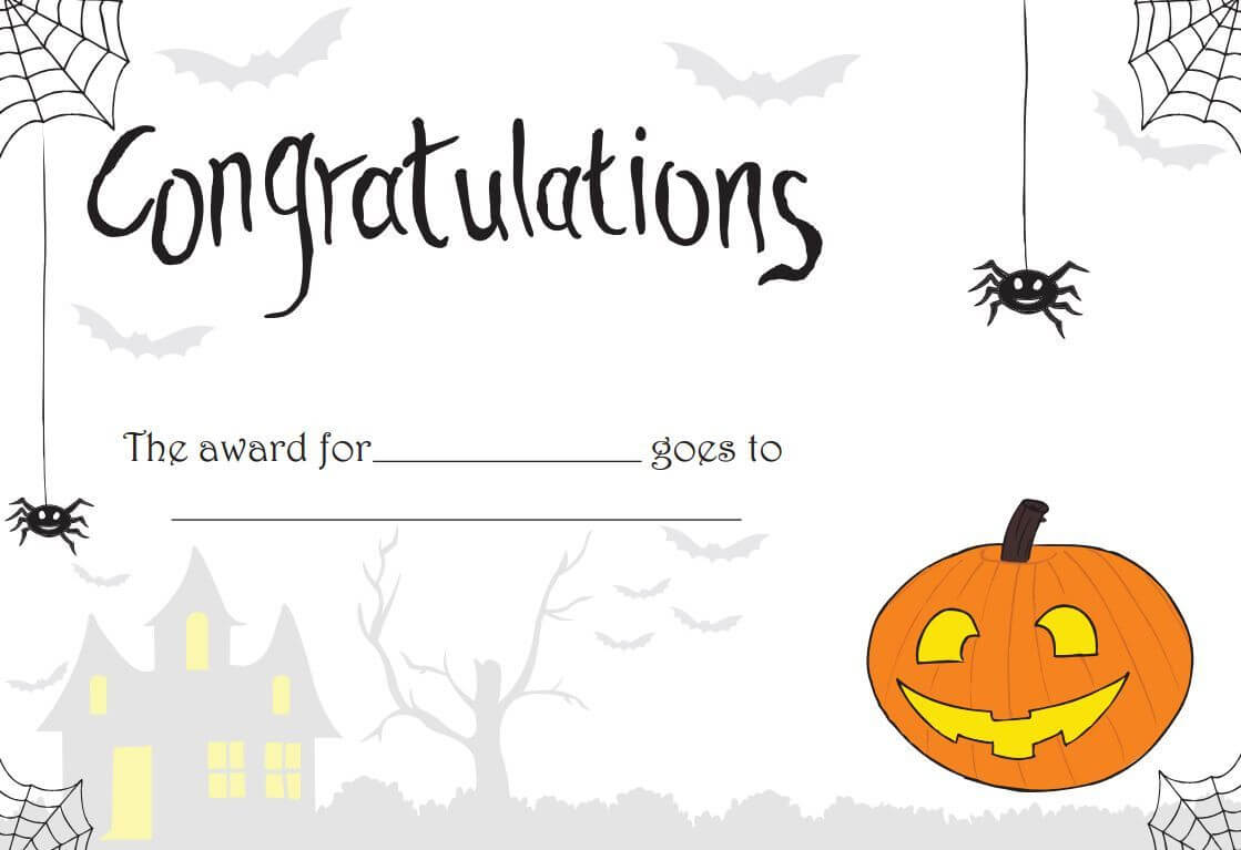 Printable Halloween Certificate - Great For Teachers Or For Throughout Halloween Certificate Template