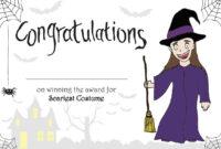 Printable Halloween 'scariest Costume' Certificate For in Halloween Costume Certificate Template