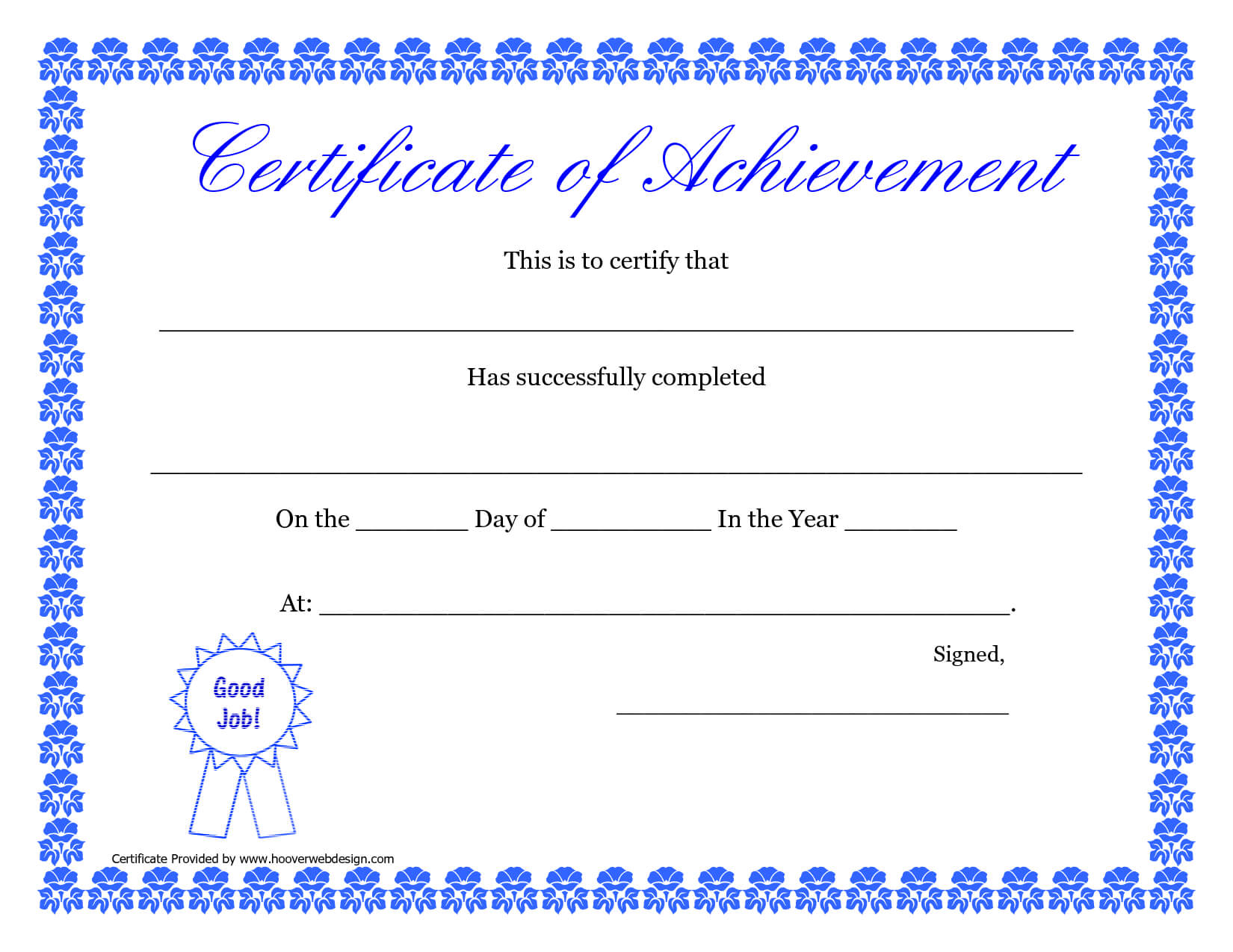 Printable Hard Work Certificates Kids   Printable Pertaining To Blank Certificate Of Achievement Template