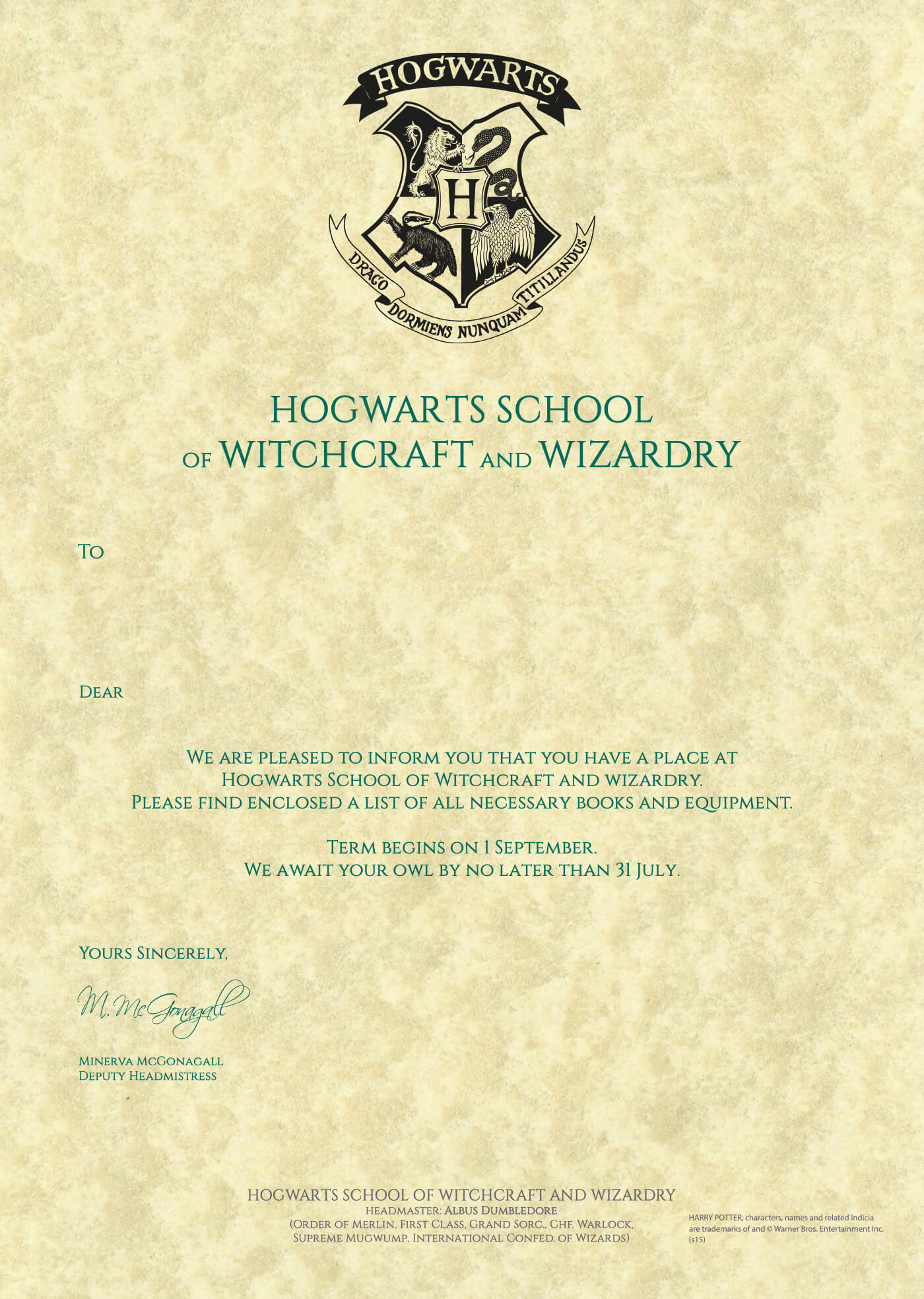 Printable Hogwarts Acceptance Letter Sample Harry Potter With Regard To Harry Potter Certificate Template