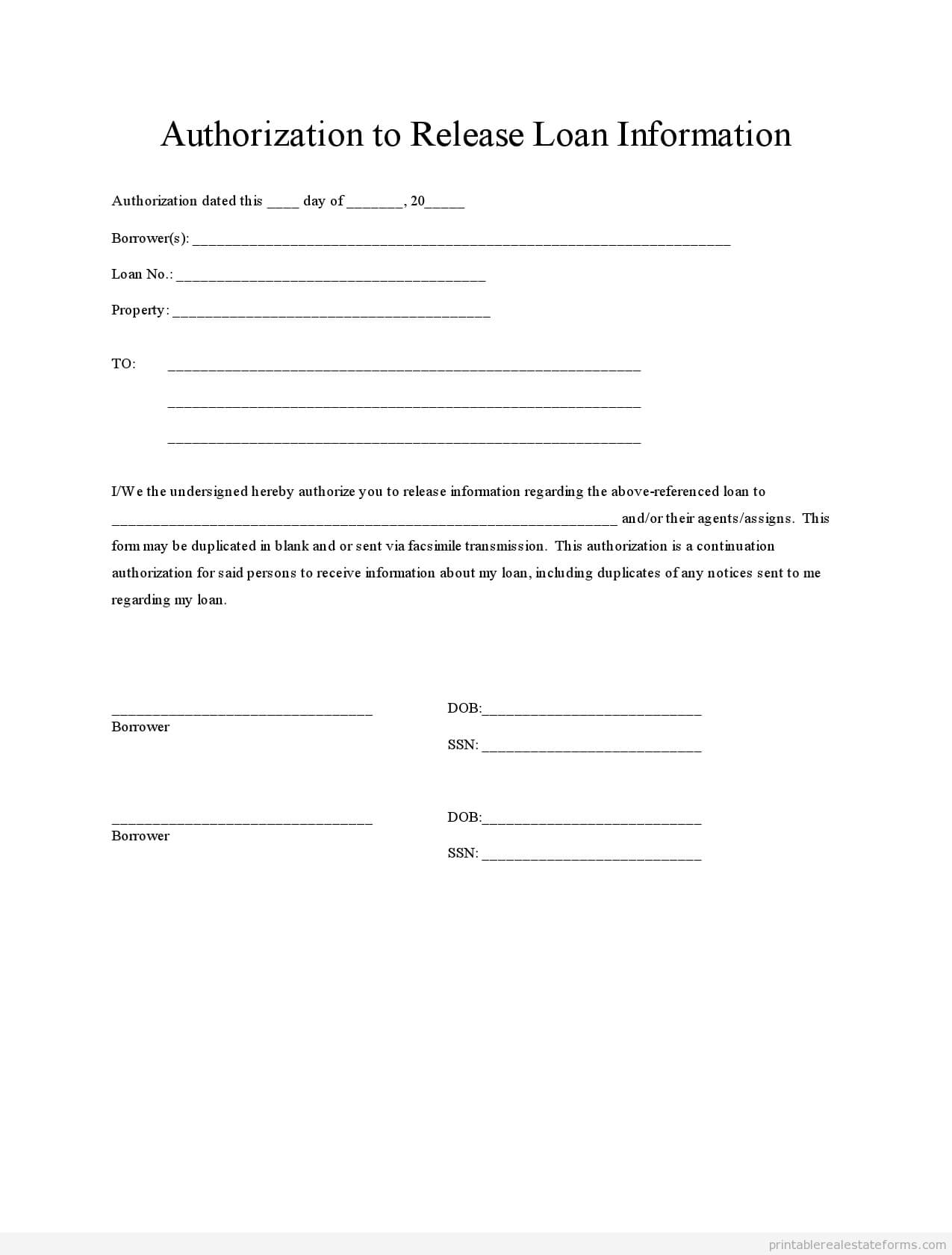 Printable Loan Authorization 2 Template 2015 | Real Estate Within Blank Legal Document Template