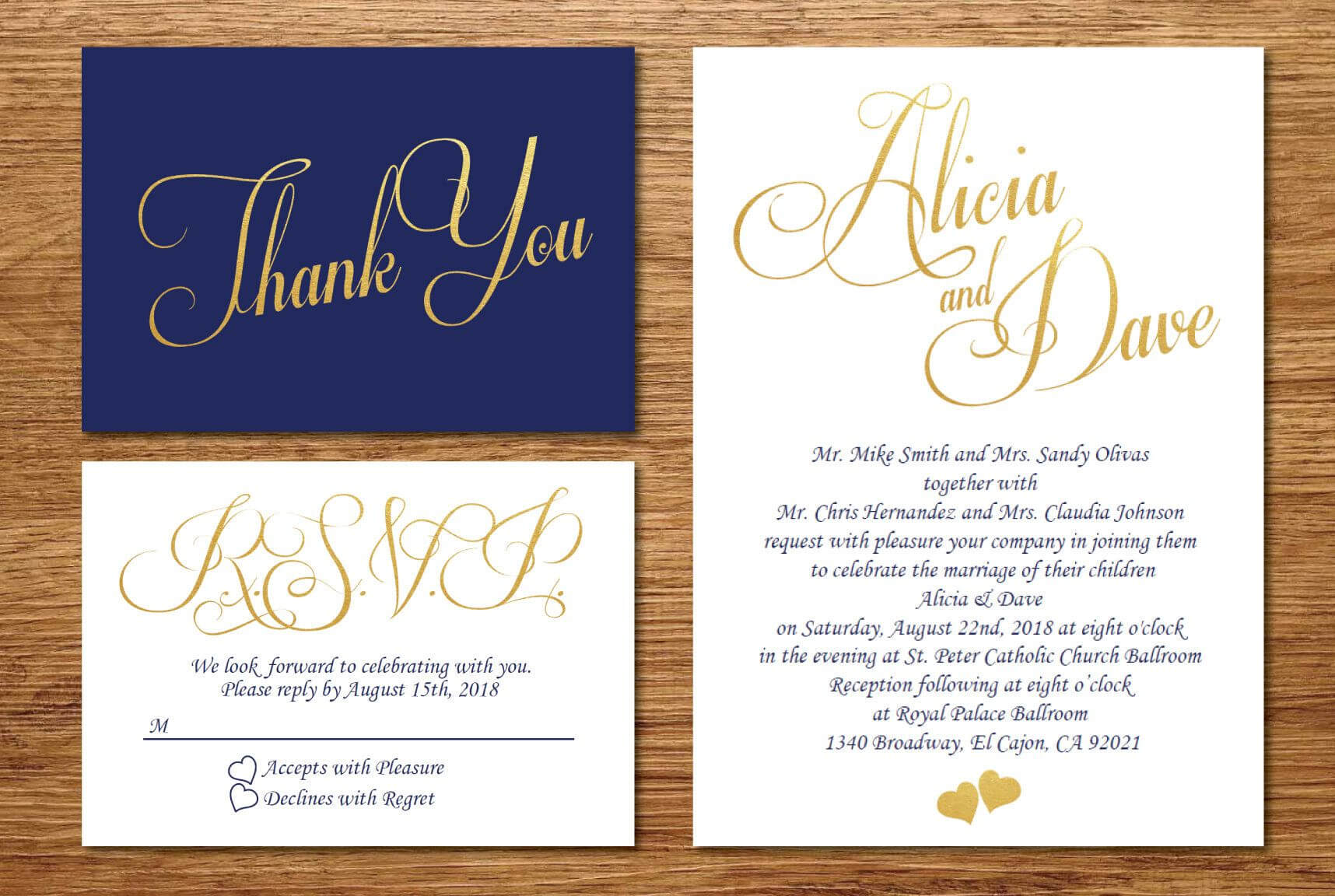 Printable Navy Blue And Gold Wedding Invitation/wedding inside Wedding Card Size Template