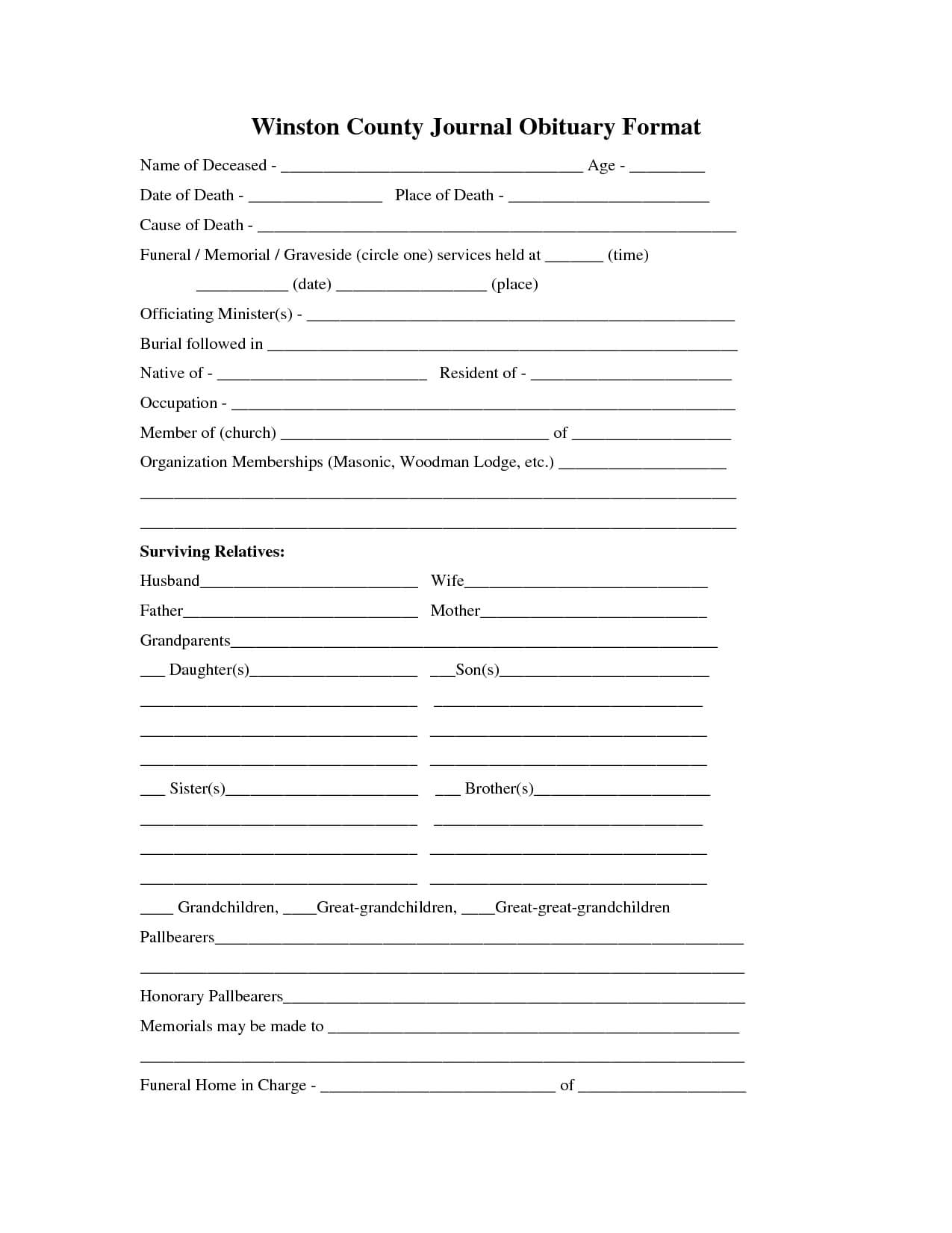 Printable Obituary Template   Fill In The Blank Obituary For Fill In The Blank Obituary Template