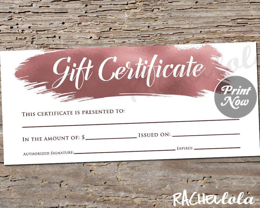 Printable Rose Gold Gift Certificate Template, Photography throughout Mary Kay Gift Certificate Template