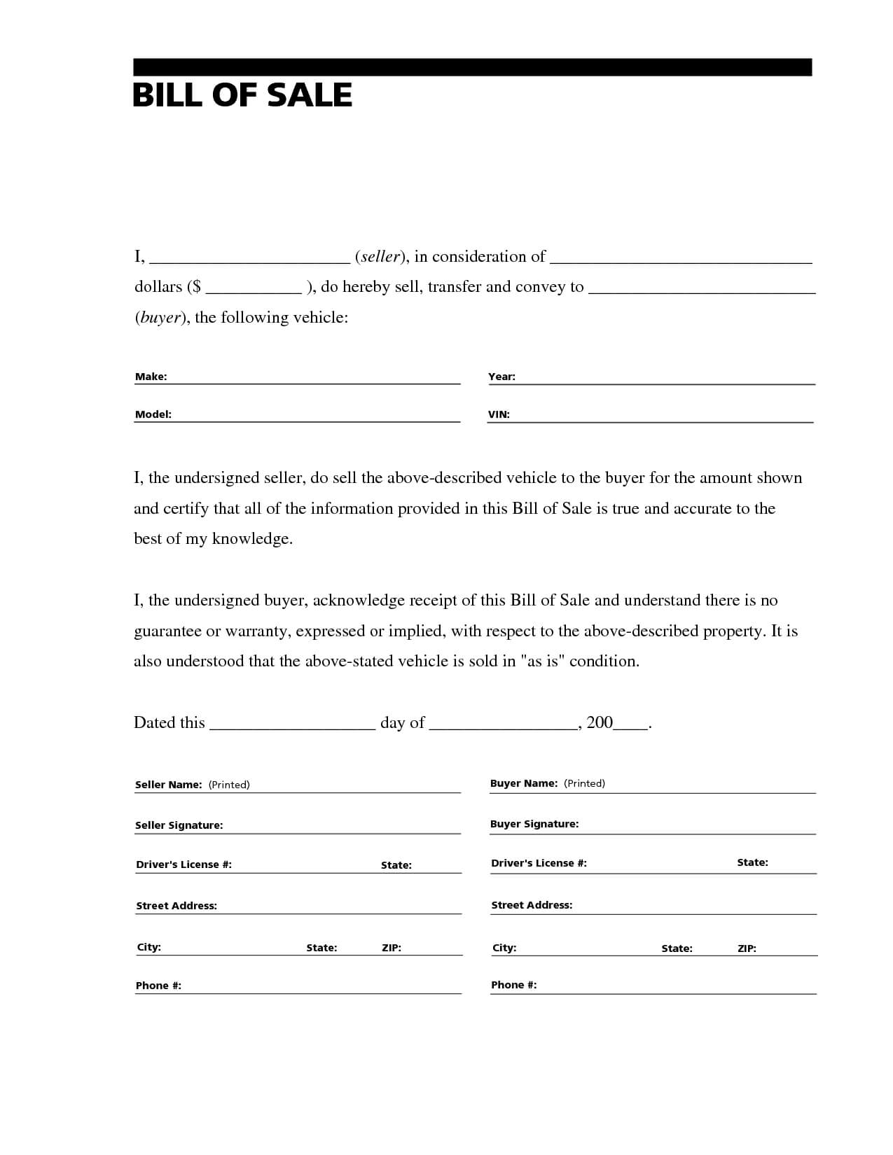 Printable Sample Free Car Bill Of Sale Template Form In 2019 Inside Car Bill Of Sale Word Template