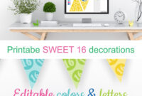 Printable Sweet 16 Decorations – Editable Banner – Customize in Sweet 16 Banner Template
