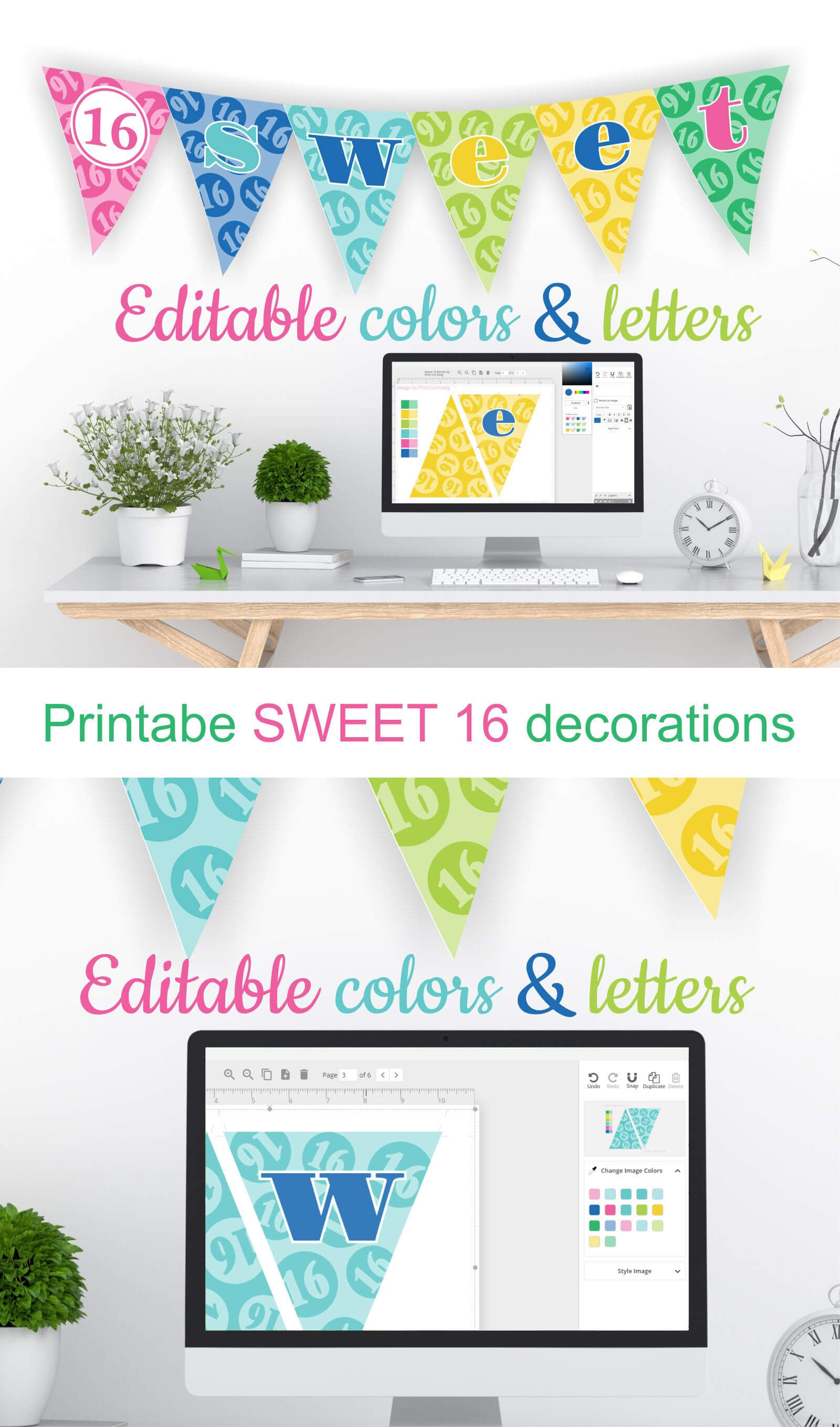 Printable Sweet 16 Decorations - Editable Banner - Customize In Sweet 16 Banner Template