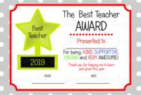 Printable Teacher Appreciation Certificate, Teacher Thankyou for Best Teacher Certificate Templates Free