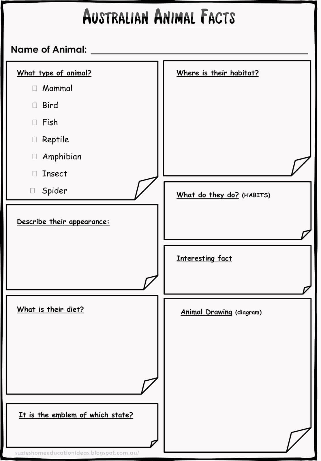 Printable - Template For Recording Information/facts On for Animal Report Template