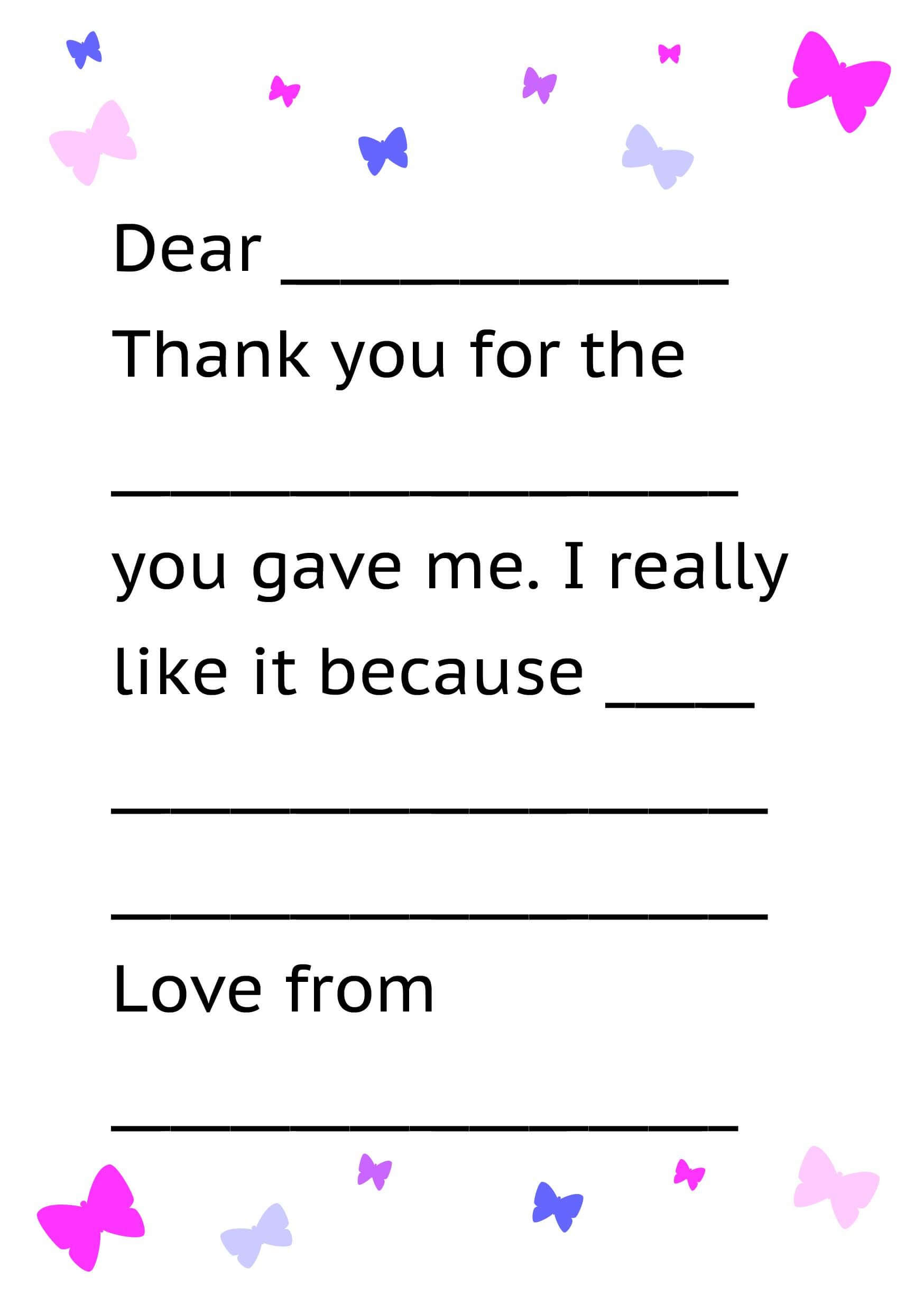 Printable Thank You Card Template For Kids | Letter Template Within Thank You Note Card Template