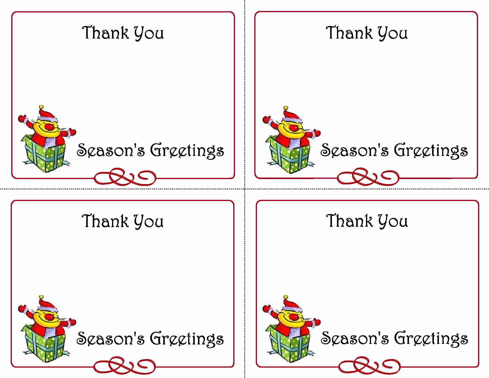 Printable Thank You Card Template Then 5 Best Of Printable in Christmas Thank You Card Templates Free