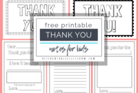 Printable Thank You Cards For Kids – The Kitchen Table Classroom intended for Thank You Note Card Template
