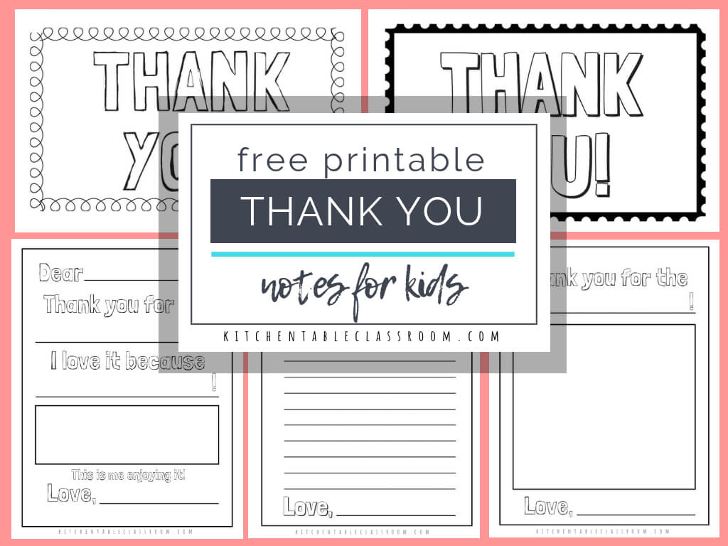 Printable Thank You Cards For Kids - The Kitchen Table Classroom With Free Printable Thank You Card Template