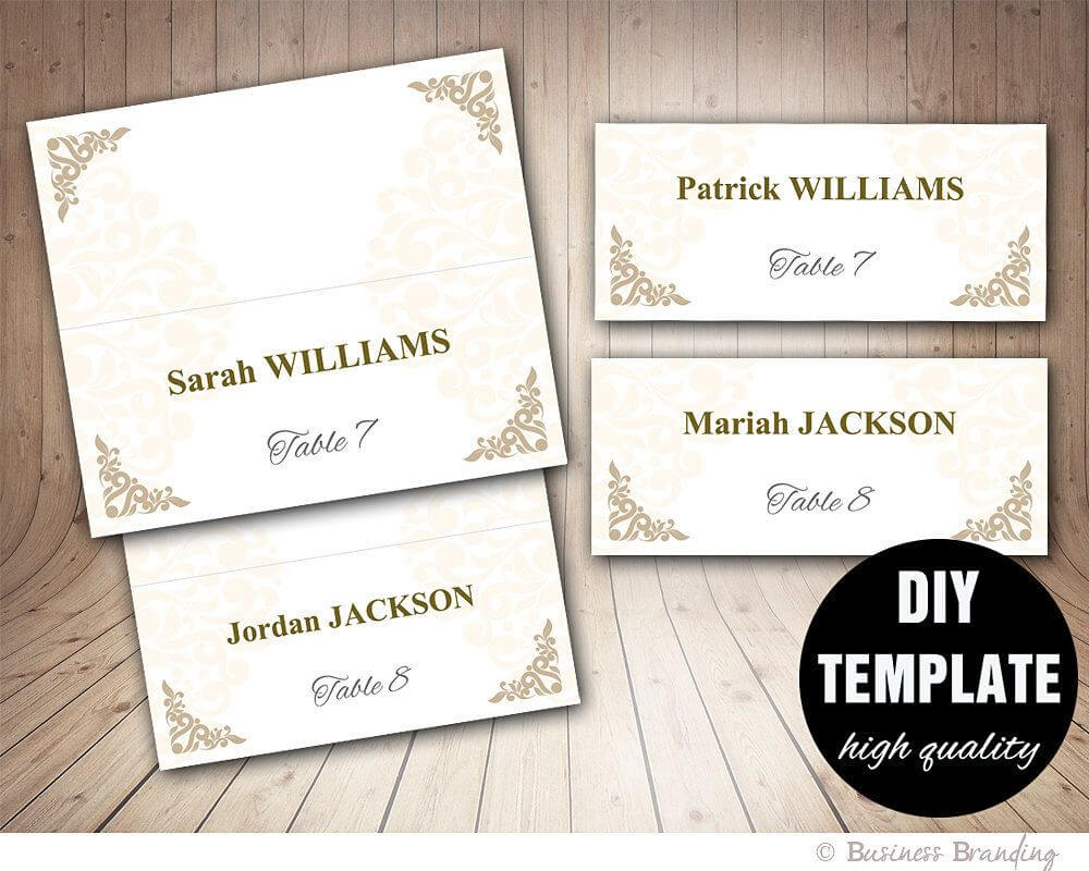 Printable Wedding Placecard Template 3.5X2 Foldover, Diy For Fold Over Place Card Template