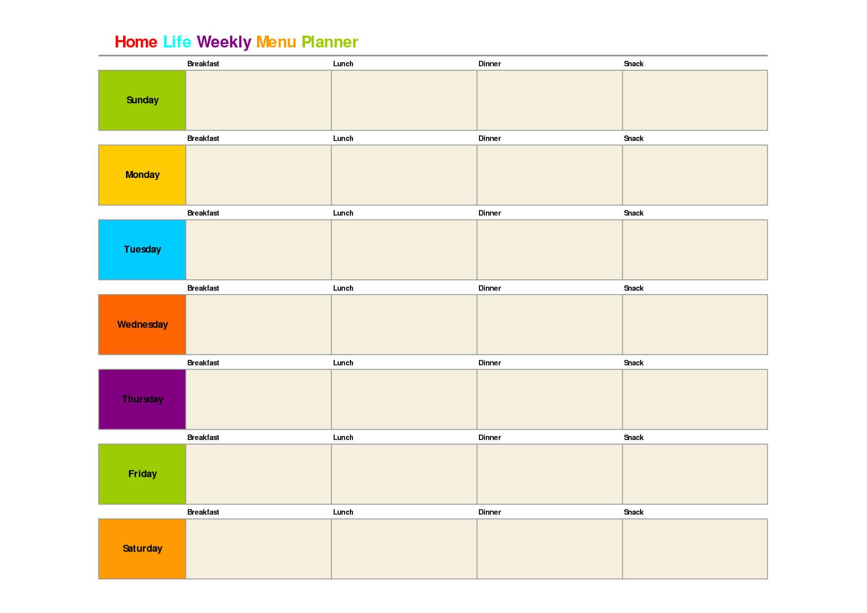 Printable Weekly Dinner Menu Planner Template | Weekly for Weekly Meal Planner Template Word