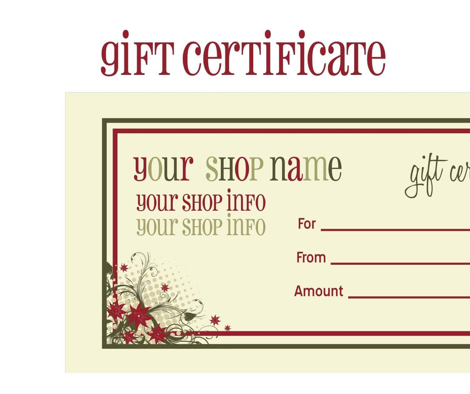 Printable+Christmas+Gift+Certificate+Template | Massage Pertaining To Massage Gift Certificate Template Free Printable
