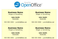 Printing Business Cards In Openoffice Writer intended for Index Card Template Open Office