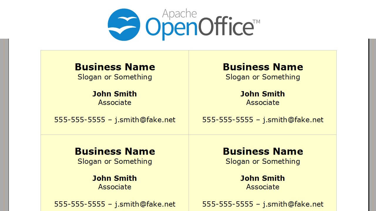 Printing Business Cards In Openoffice Writer Within Business Card Template Open Office