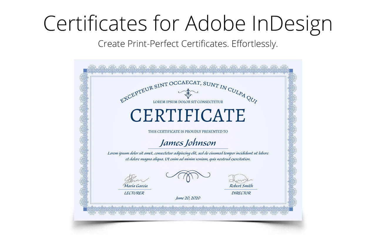 Printperfect - Certificate Templates For Indesign Pertaining To Indesign Certificate Template