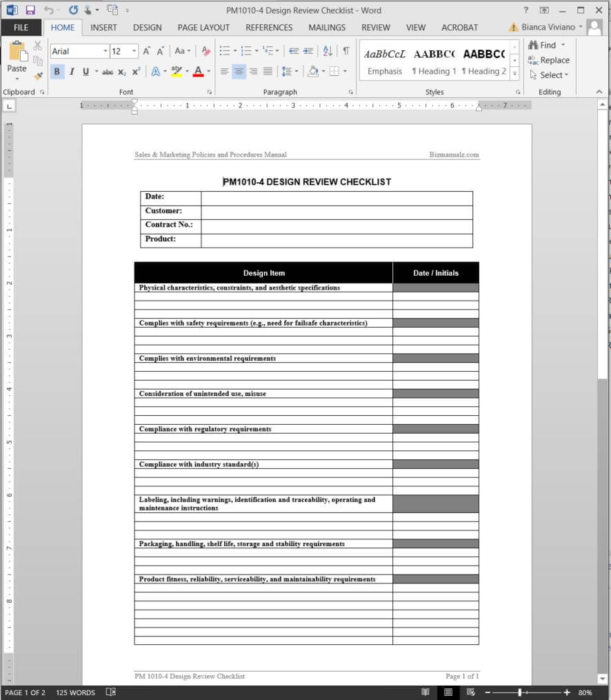 Product Design Review Checklist Template | Pm1010-4 inside Training Manual Template Microsoft Word
