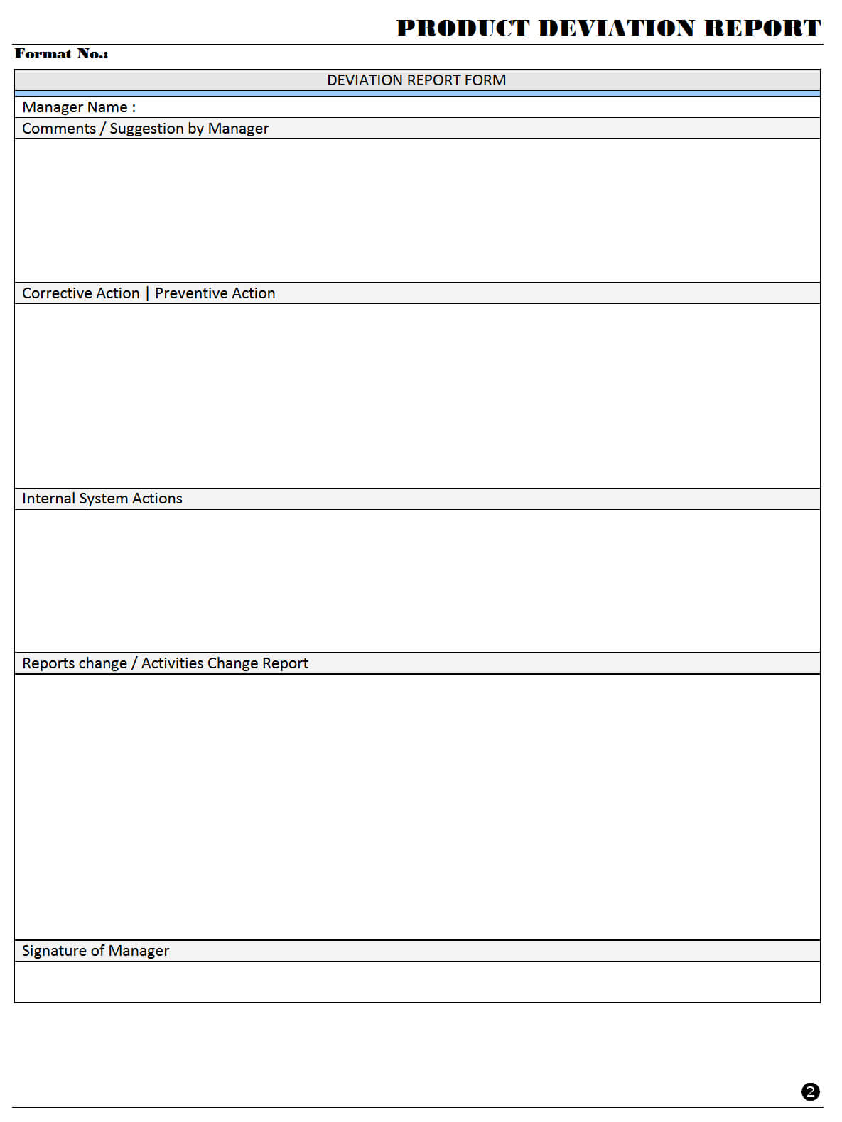 Product Deviation Report - in Deviation Report Template