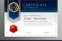 Professional Blue Certificate Template Design With Regard To Professional Award Certificate Template